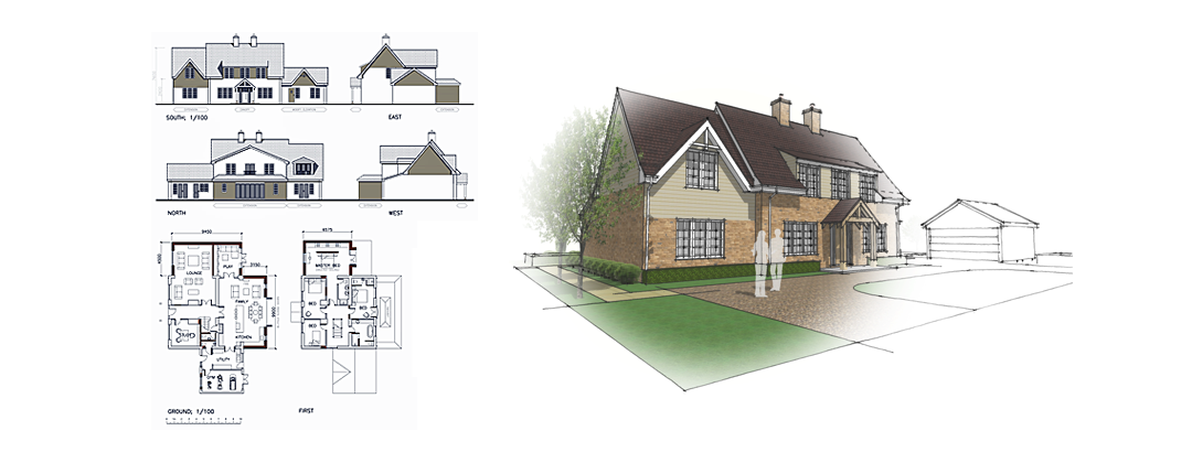 Single storey rear extension, two storey side extension and front porch, Hall Close